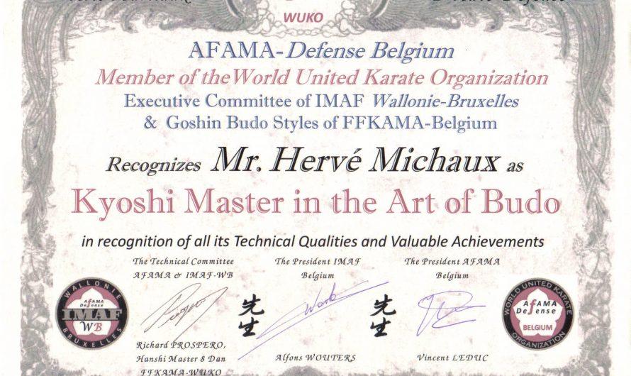 Renshi Hervé Michaux obtient le titre de Kyoshi Master.