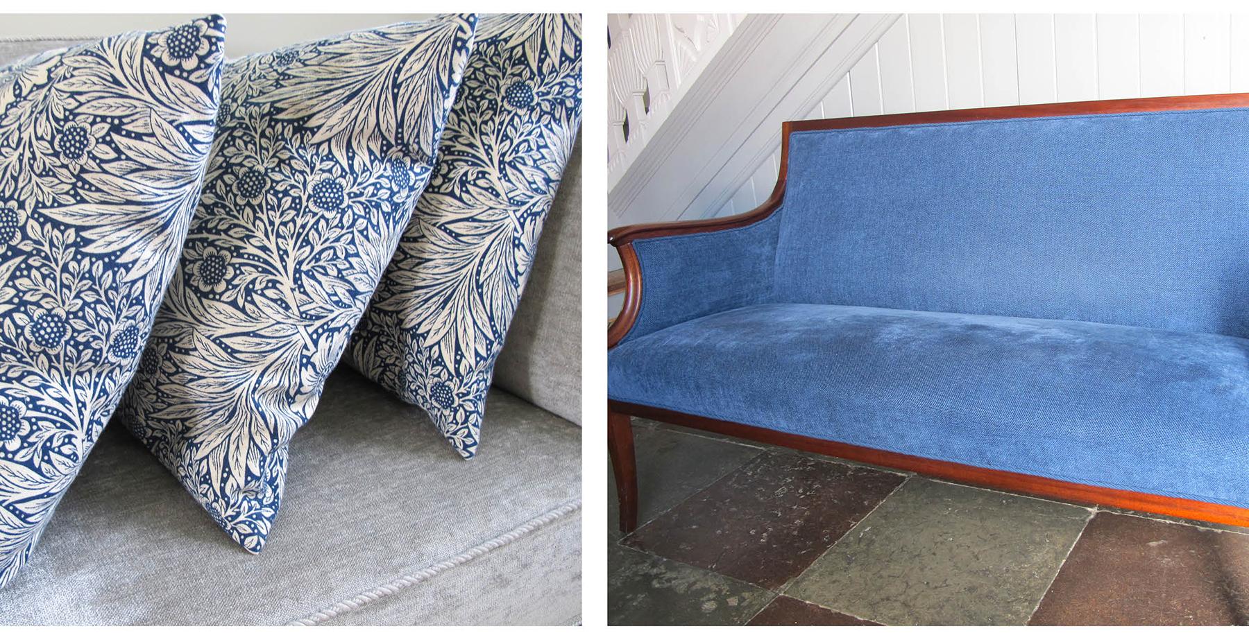 puder, sofa, cushions, blue, blå