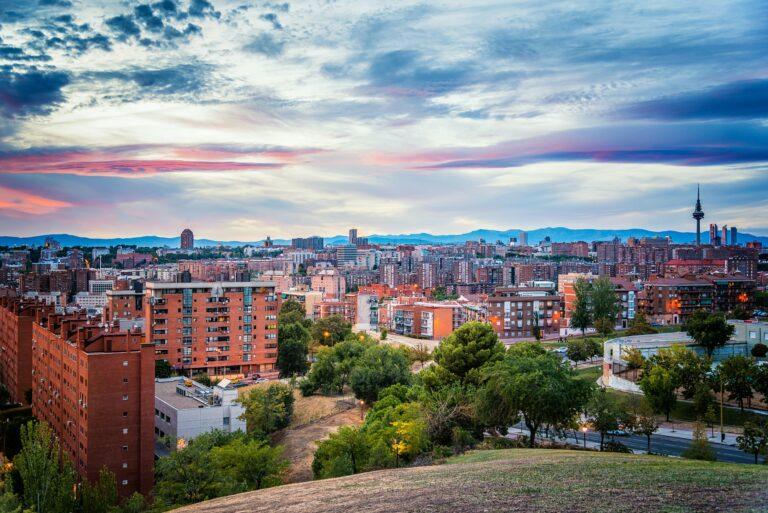 Cityscape at sunset. Madrid