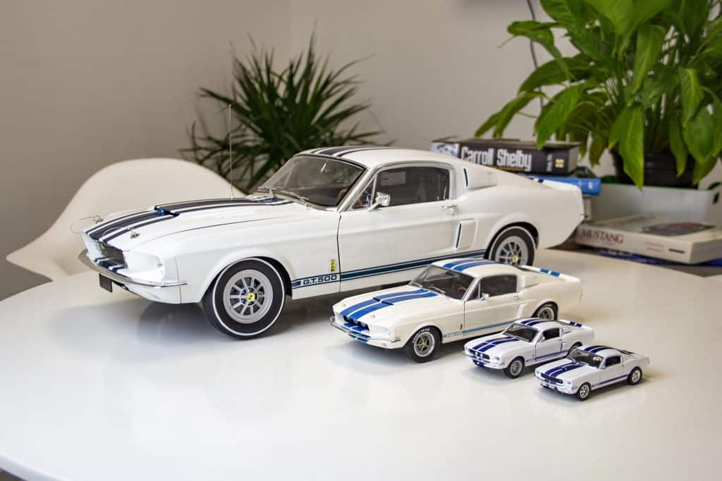 Model 1967 Shelby Mustangs at four different scales.