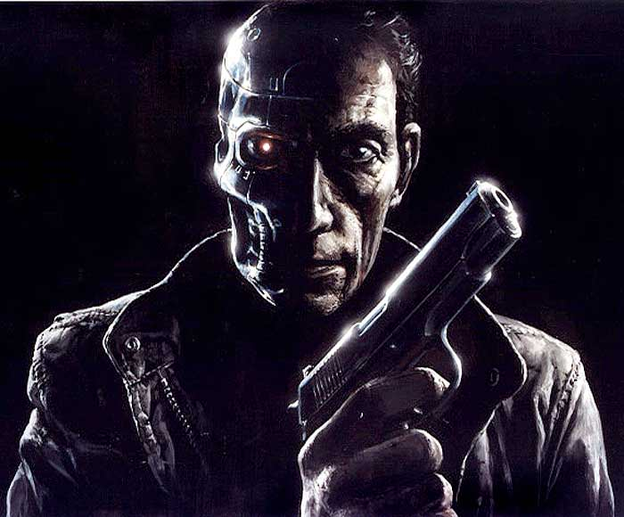 Concept art of Henriksen as The Terminator