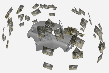 Photogrammetry uses photographs to determine where points are in space, and helps the scanner build up and accurate model.