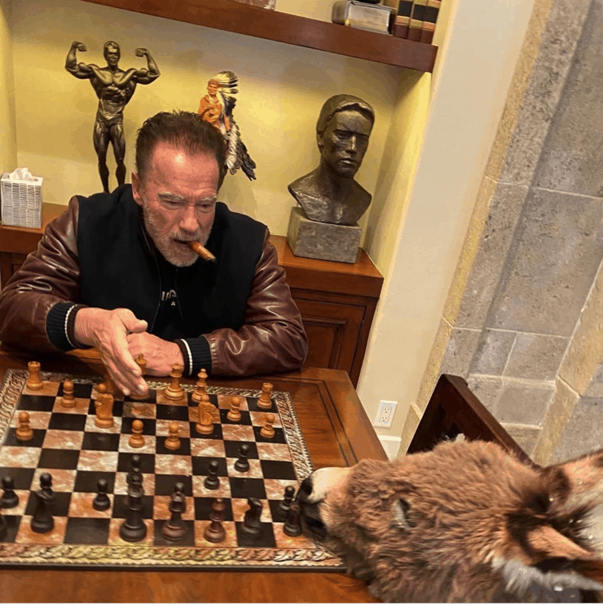 Arnold Schwarzenegger playing chess