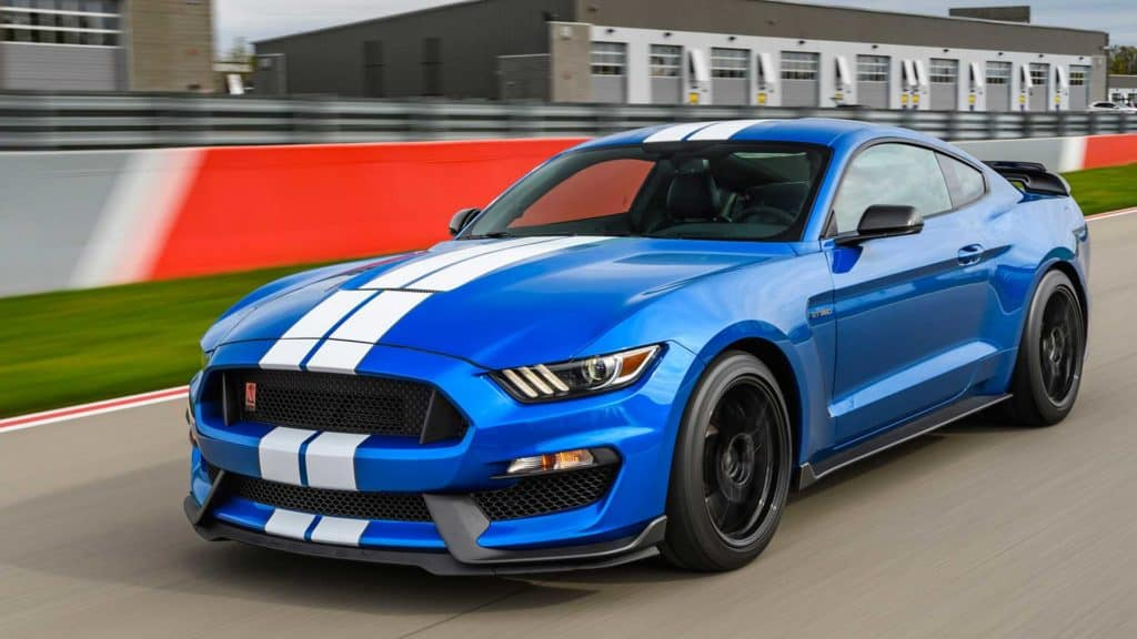 A 2019 Ford Mustang Shelby GT350 being shown off in the distinctive Shelby livery.