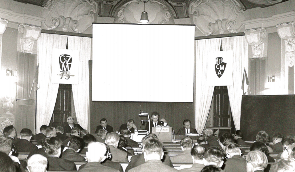 The CIMA I logo is visible on banners in Chateau Liblice, Czechoslovakia