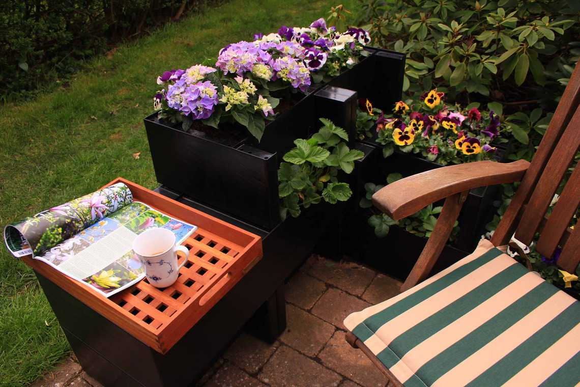 Garden corner tray Agro Block and chair