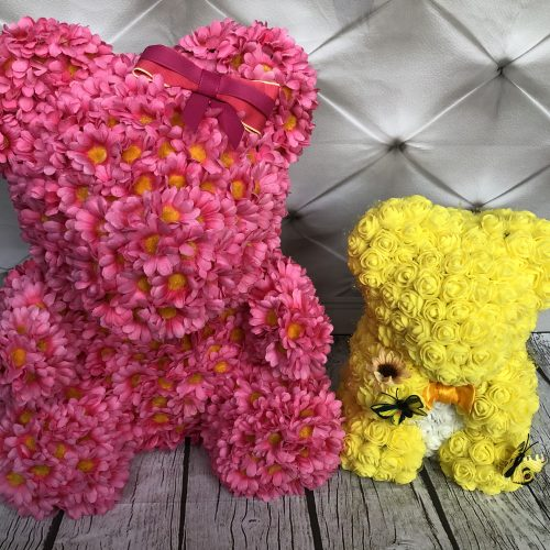 large pink daisy bear and yellow flower bear