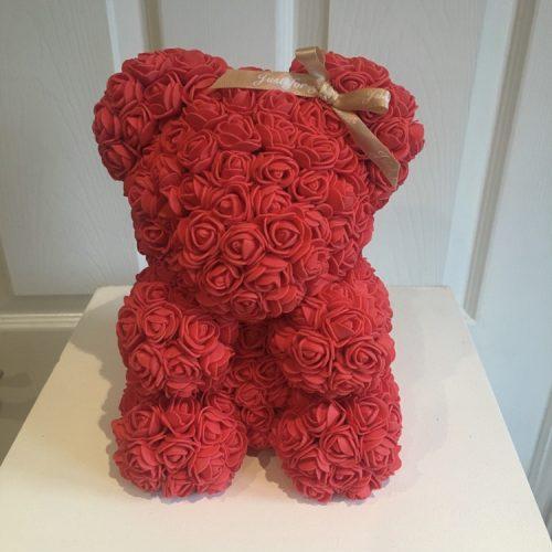 red rose flower bear