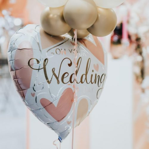 picture of wedding helium foil balloon white and pink