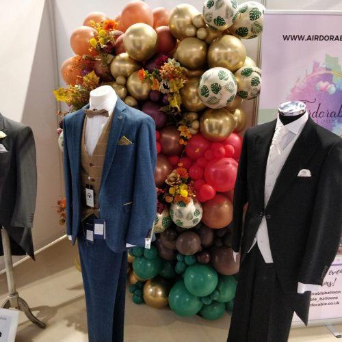 autumn balloon wall display at wedding show