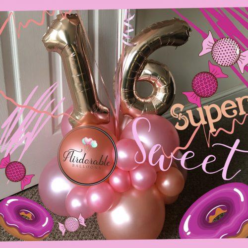 16 pink balloon column