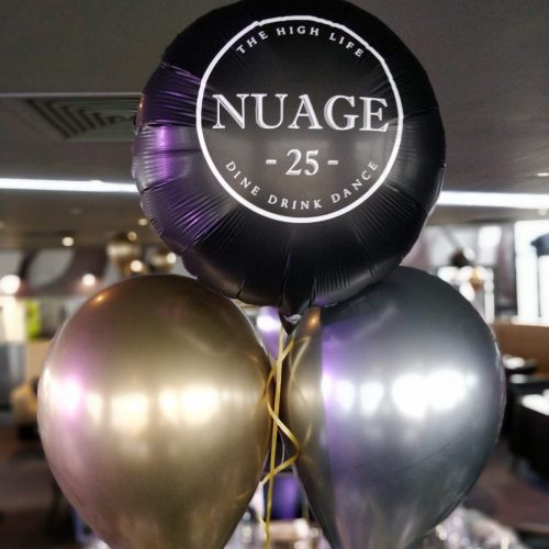 black gold and silver nuage table cluster helium latex and foil balloons