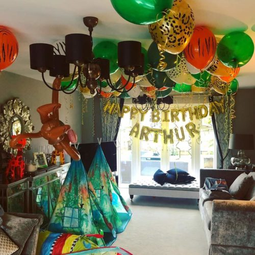 green white and gold ceiling helium balloons