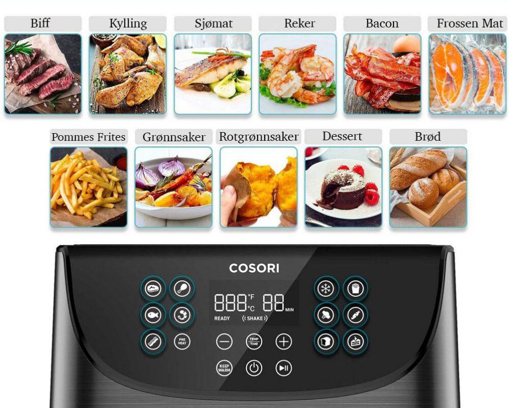Cosori airfryer 11 innstillinger