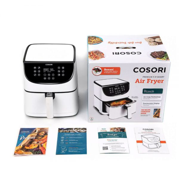 Cosori Premium airfryer innhold- hvit