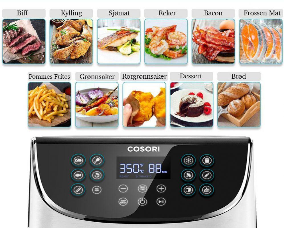 Cosori airfryer hvit 11 innstillinger