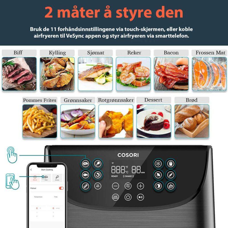 Cosori smart airfryer innstillinger