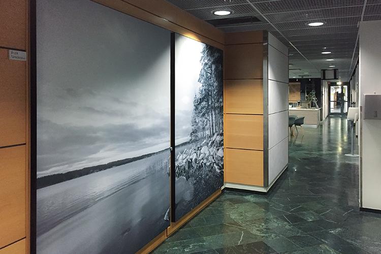 AKUprintti Technopolis Oulu akustiikkapaneelit yksilöity kangastuloste