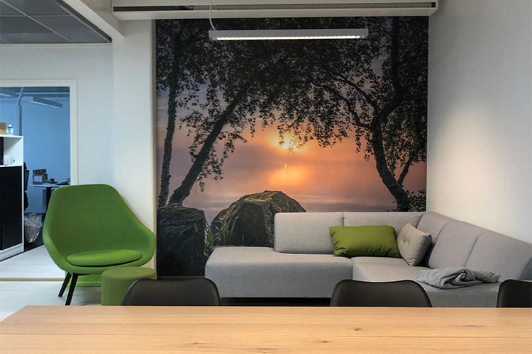 AKUprintti - Oura Ring office Oulu FInland acoustic wall print sunset