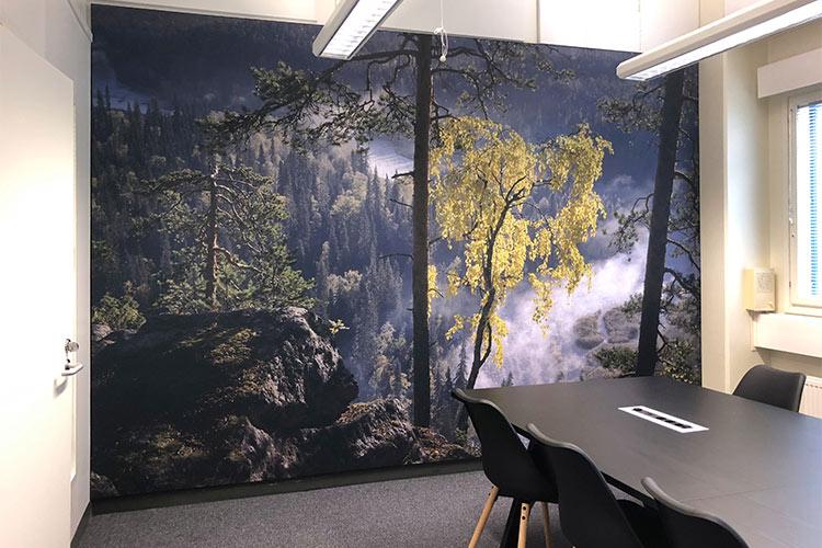 AKUprintti - Oura Ring office Oulu FInland akustinen seinä tuloste