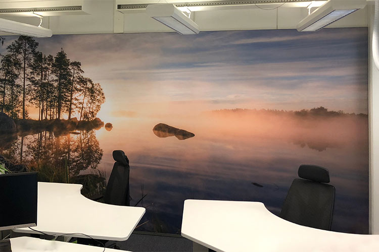 AKUprintti - Oura Ring office Oulu FInland acoustic wall print