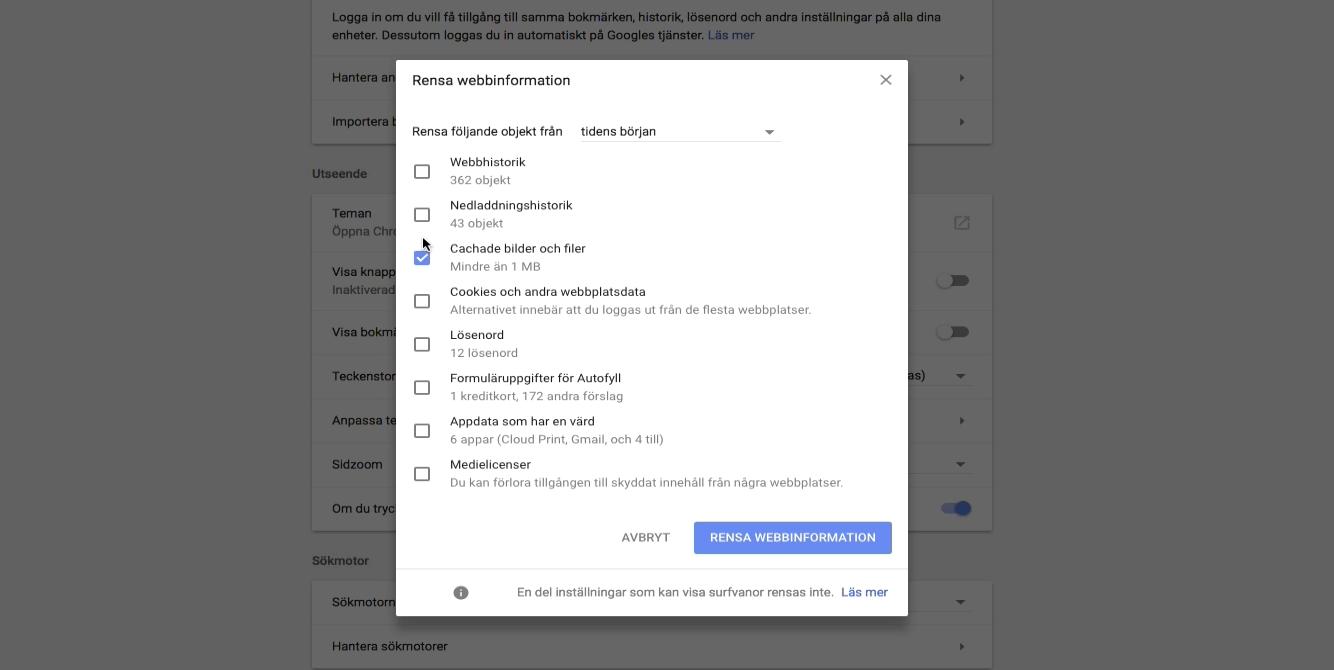 Hur man raderar cachar - i Chrome och Safari