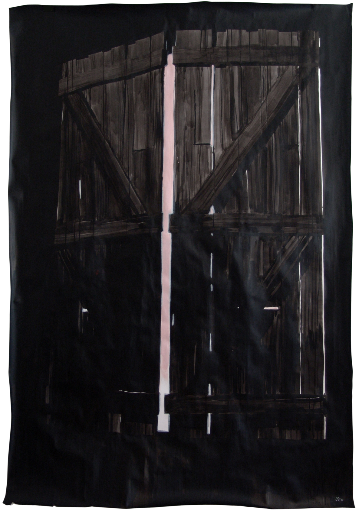 GATE, Indian ink & acrylic paint on paper, 2m x 1.50m, 2010, Alexandra Crouwers