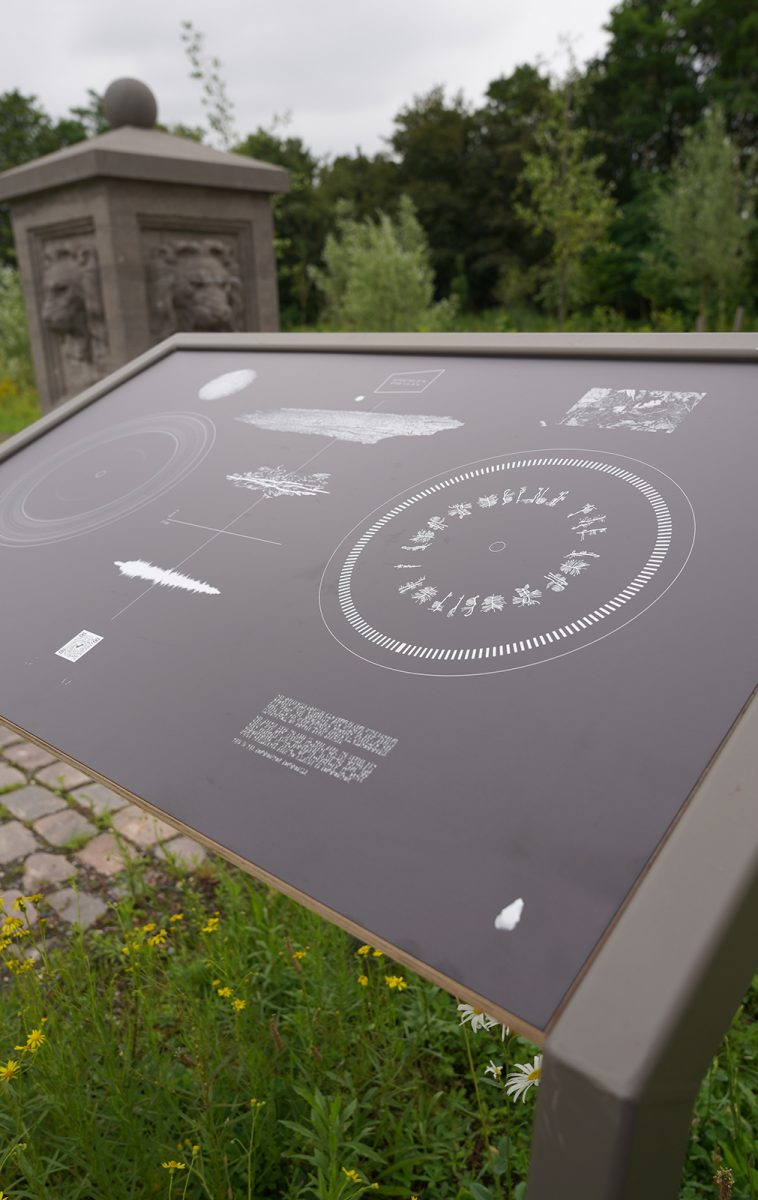 ⓘ The Compositor, information panel, print on dibond, 118 x 71cm, 2021. Park Brialmont, Antwerp.