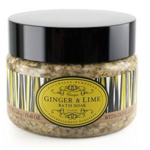 Badesalt 550g ginger lime med oliven blade