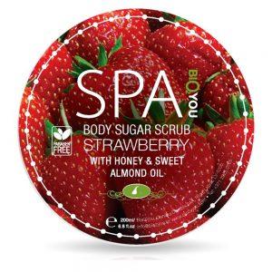 Body sugar scrub Jordbær honning og mandel olie 200ml