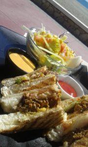 Seitan Sandwich with Side Salad