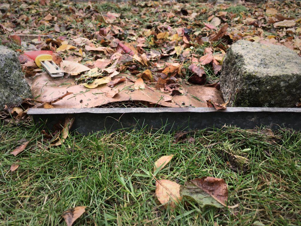 Pappe auf Rasen, da drauf Pappe und Laub