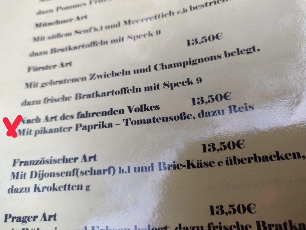 Elefant Rest. Menukort zigeunerschnitzel - (C) allesgut.berlin