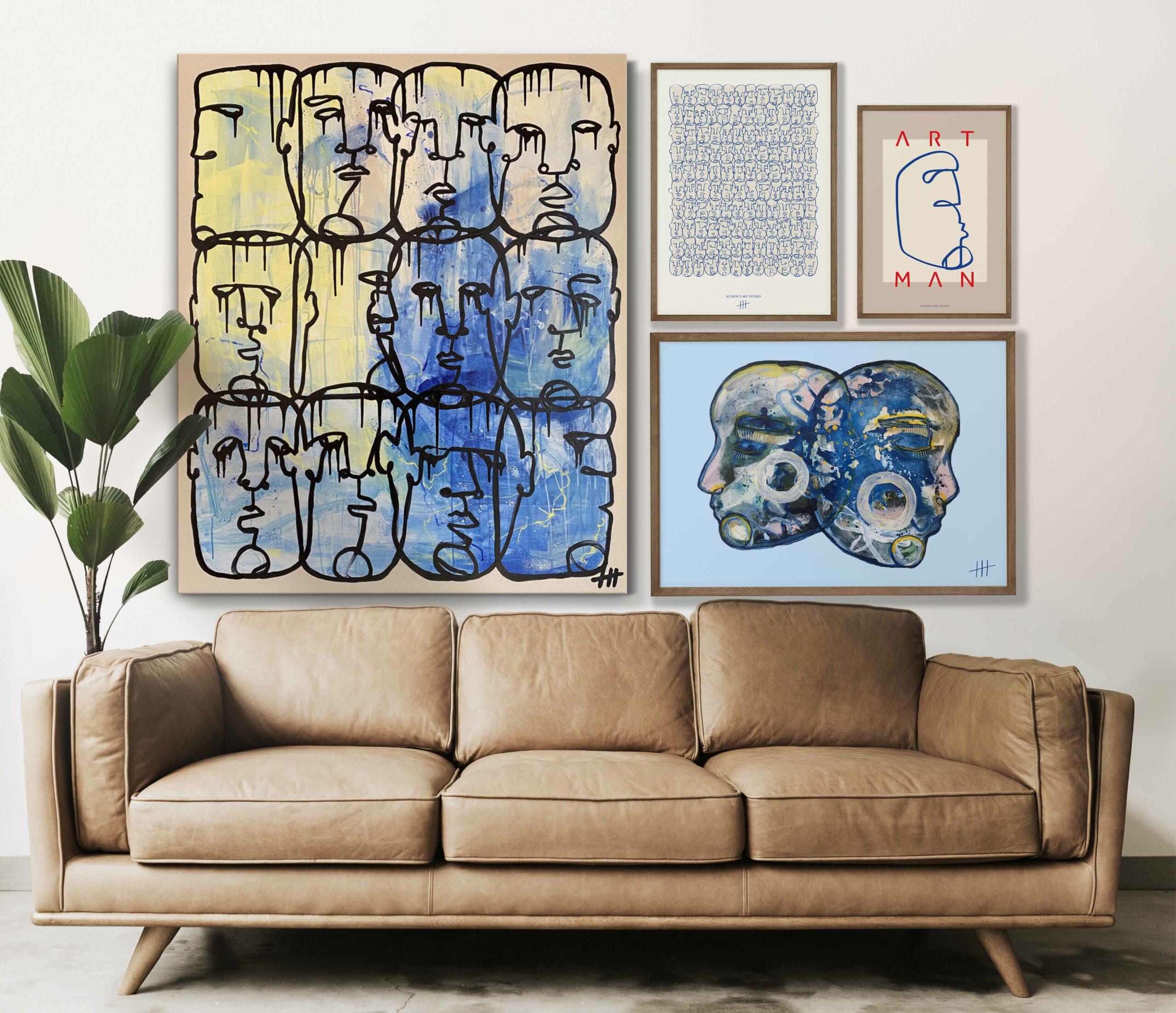 stue inspiration med malerier og plakater ny2
