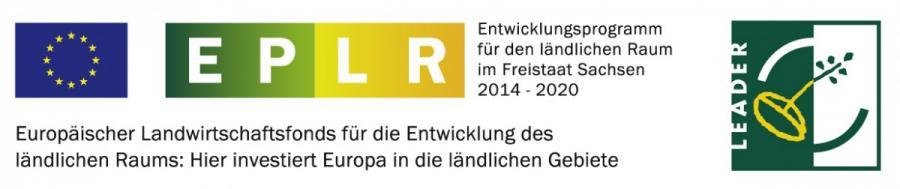 Das Förderlogo zeigt eine Europa-Flagge, sowie die Buchstaben EPLR und das Logo des Förderprogramms LEADER.