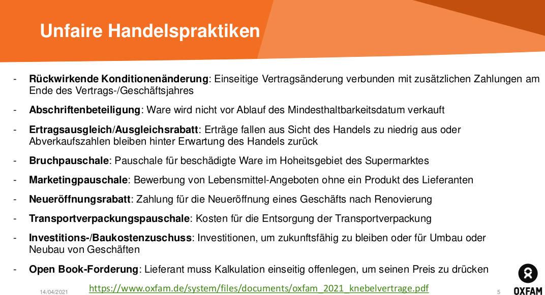 """Rückblick """"Unfaire Handelspraktiken Deutscher Supermarktketten"""""""