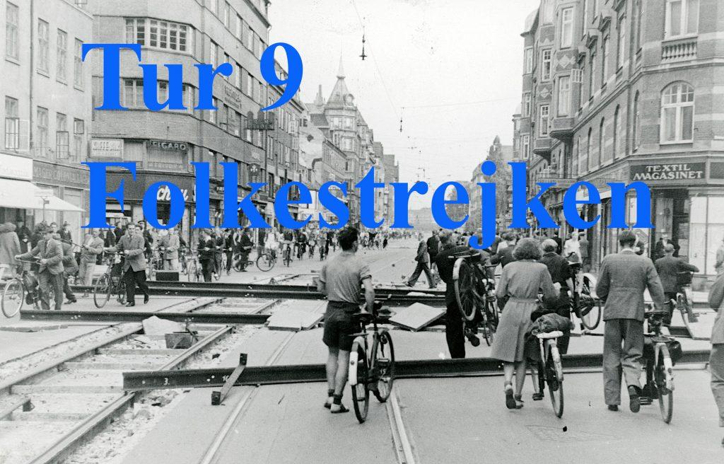 Foto af Amagerbrogade med bilspærring under folkestrejken 1944 fører til tur 9