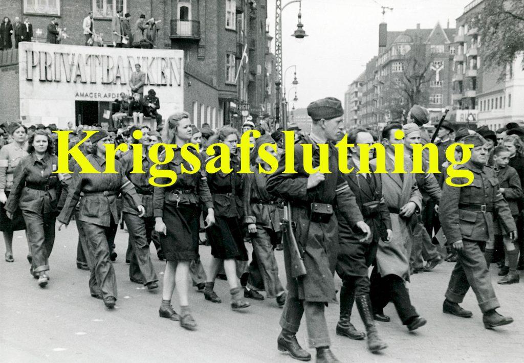 Foto af modstandsfolk der leder til kapitel om krigens afslutning