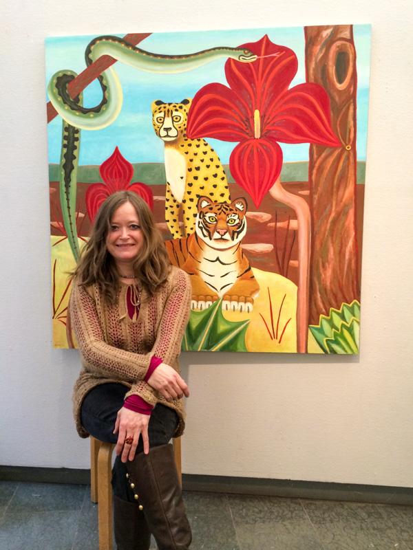 Fotograf: Sven Svensson. Amalia med Tiger, målning.