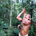 Huarani Waorani hunter in Tena Yasuni Amazon conoe tour Ecuador
