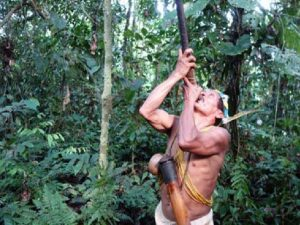 Waorani or Huaorani hunter in Ecuadorian Amazon tour