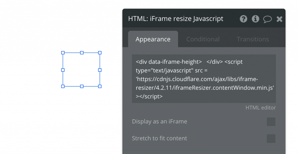 Bubble HTML element with Javascript to resize iFrame element