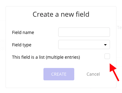 Screenshot showing the Create a new field popup in Bubble