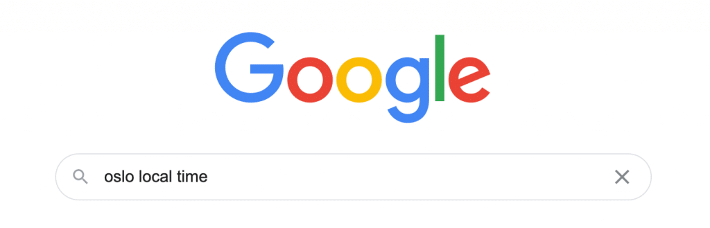 Screenshot of a Google search for Oslo local time
