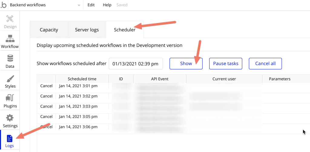 The Bubble Scheduler window showing how to cancel a scheduled workflow