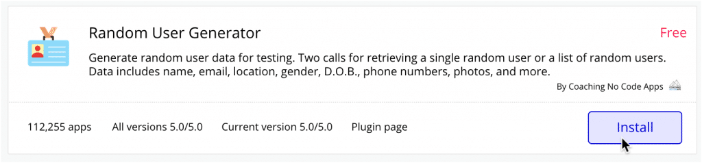 Bubble's plugin installer showing the Random User Generator.