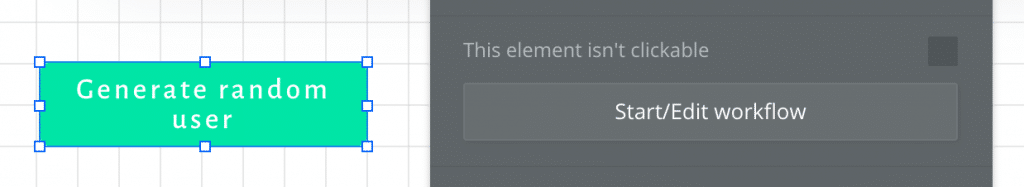 A generate random user button next to the Start/edit workflow panel.