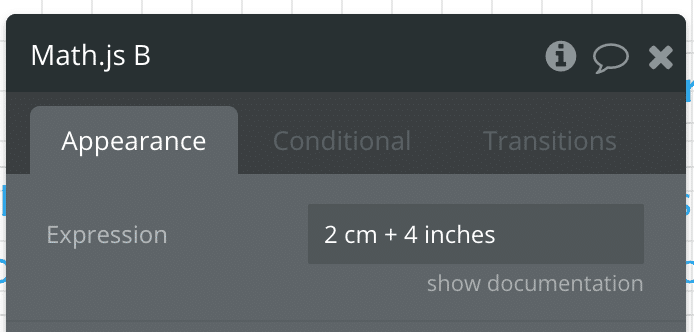 Screenshot showing unit conversion between cm and inches in Bubble.