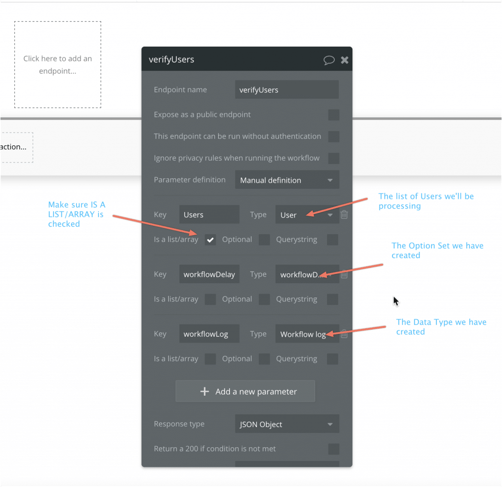 Screenshot with arrows showing how to set up the parameters for the workflow