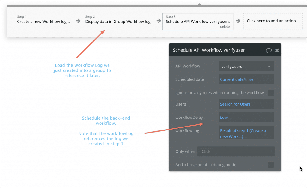 Screenshot showing how to set up the workflow on the button.